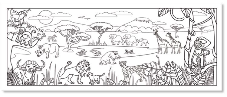 Coloriage d 39 une fresque savane africaine coloriage - Savane dessin ...