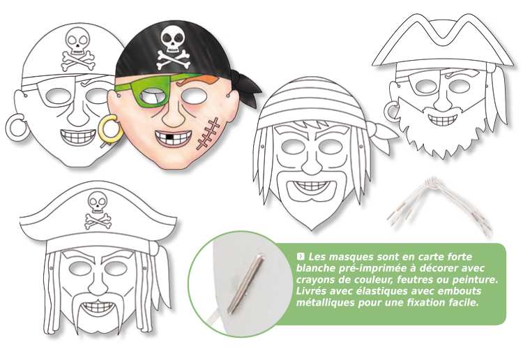 Coloriage masques de pirates - Coloriage mini loup et les pirates ...