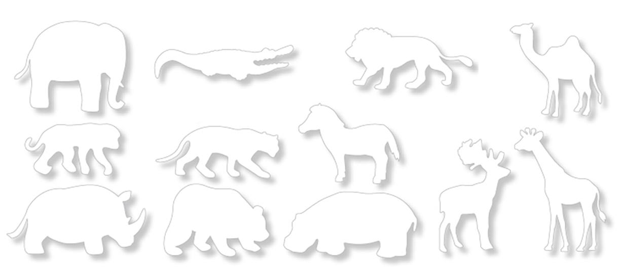 12 silhouettes d'animaux d'Afrique à colorier