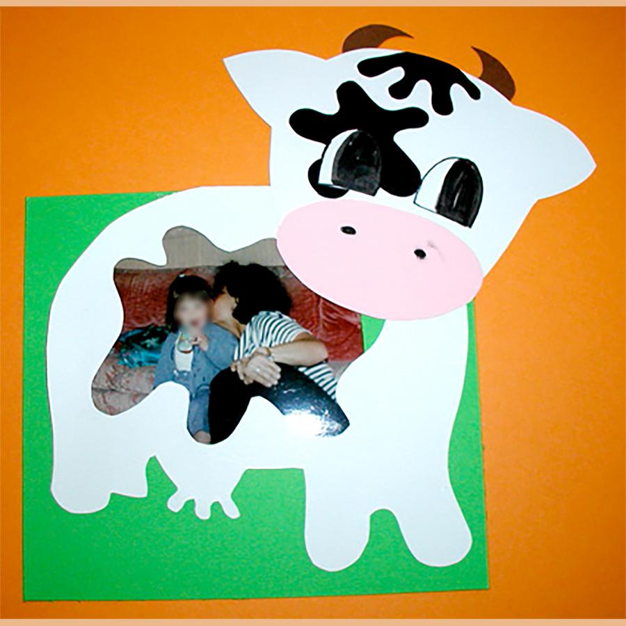 Cadre décoré d'une vache