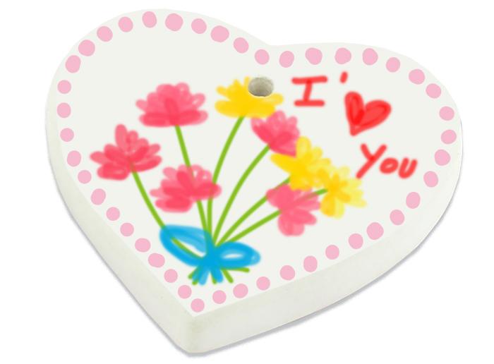 Coeur en céramique décoré aux marqueurs