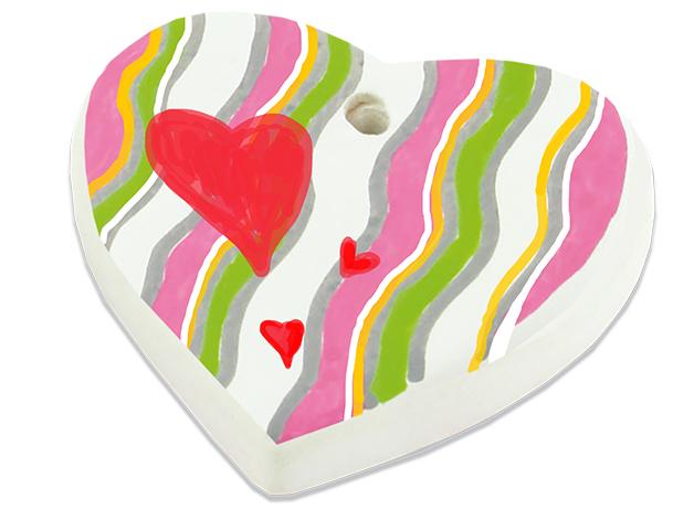 Coeur en céramique peint
