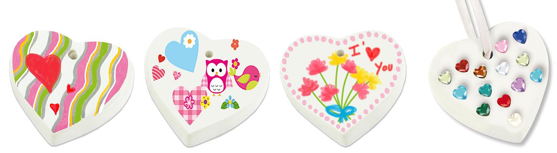 Coeurs e, céramique à décorer