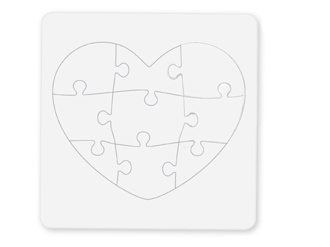 Puzzle coeur à colorier