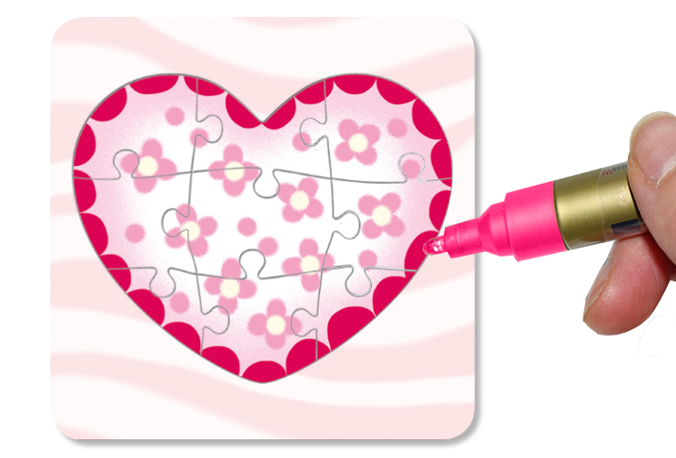 Colorier le coeur sur le puzzle