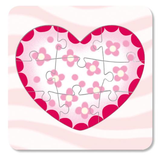 Coloriage d'un puzzle cœur de 9 pièces