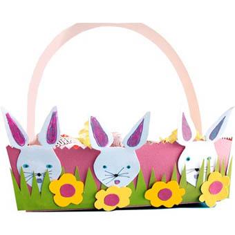Corbeille oeufs pour p ques d cor e de t te de lapins - Tete a modeler paques ...