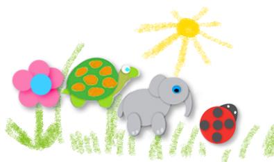 Tableau avec forme animaux à colorier