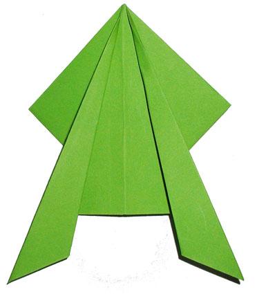 Pliage origami d'une grenouille