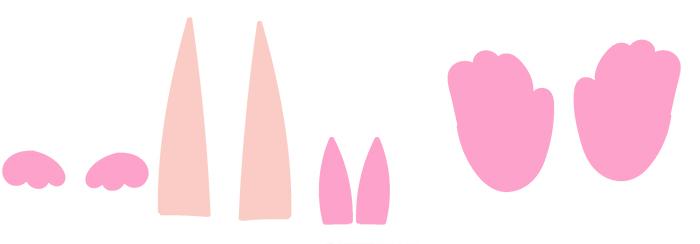 Corps du lapin : découper les formes en papier couleur