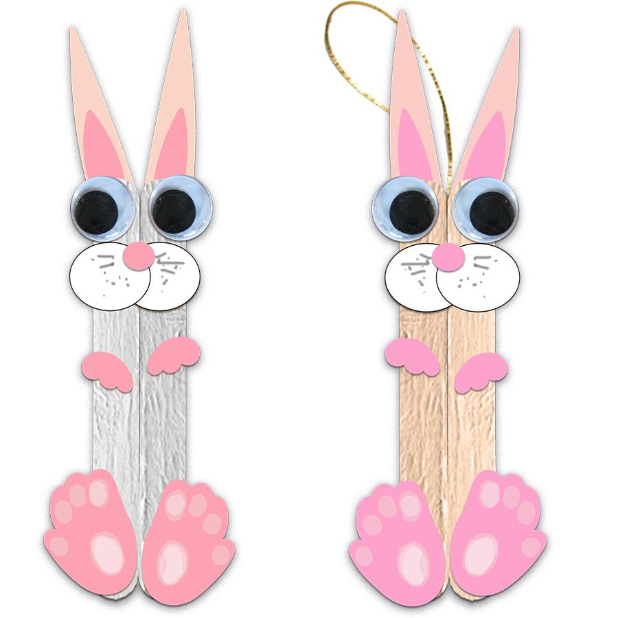 Lapins de Pâques en bâtons de bois