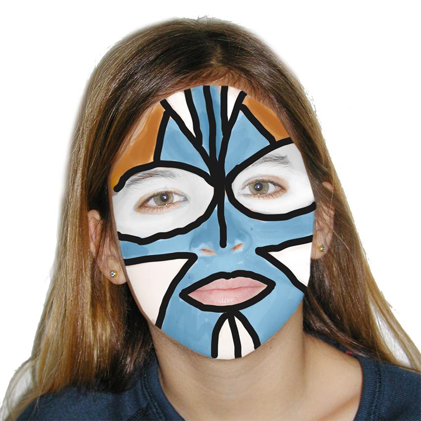 Maquillage bleu et blanc inspiré des îles du pacifique