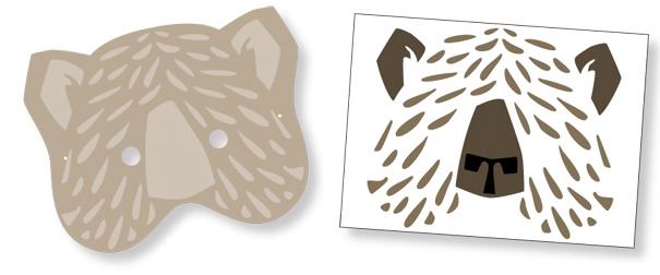 Masque ours avec gommettes