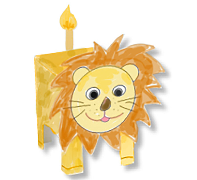 Paper toy animal lion
