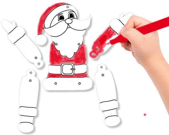Colorier chaque partie du Père Noël