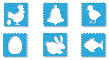 Set 6 pochoirs de Pâques