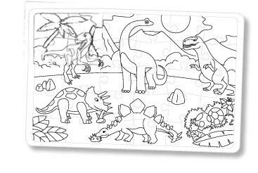 Coloriage puzzle dinosaure