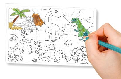 Colorier les dinosaures du puzzle