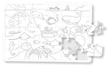Puzzle de la mer à colorier