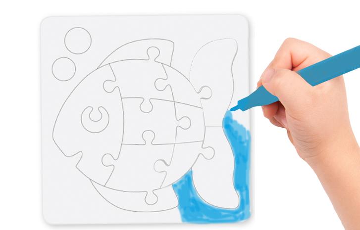 Colorier le poisson sur le dessus du puzzle
