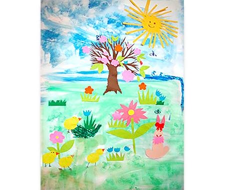 Décorer le tableau de printemps en collant des éléments