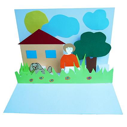 Carte pop up maison et jardin bricolage papier t te - Carte pop up a fabriquer ...