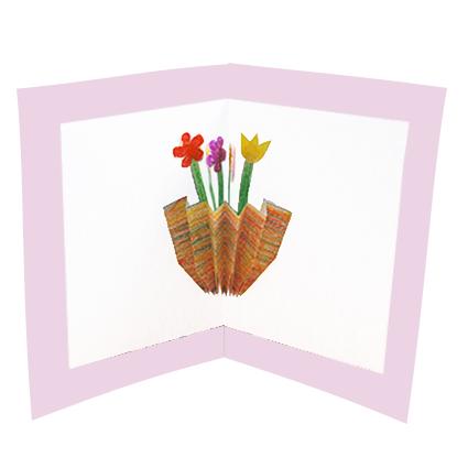Carte Pop Up fleurs dans un vase