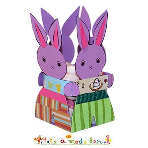 Quatre lapins de p ques en corbeille lapin p ques t te - Tete a modeler paques ...