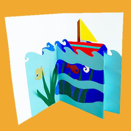 Assez fabriquer une carte pop up aux airs marins : bateau mer et petits  FE26