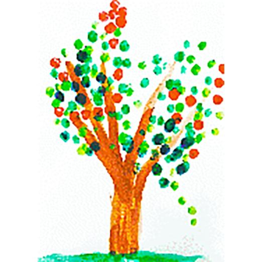 Arbre peint aux doigts