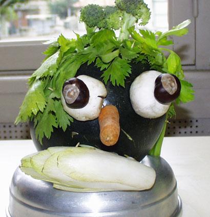 Sculpture à la manière d'Arcimboldo - légumes d'Arcimboldo
