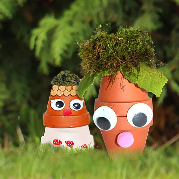 Bonshommes d'automne en pots de terre