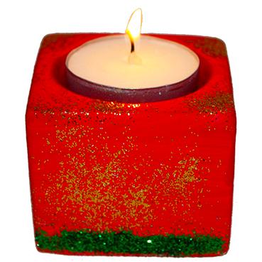 Bougeoir décoré de paillettes de Noël
