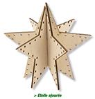 Boule étoile en bois découpé à peindre