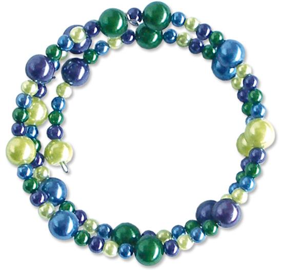Bracelet à mémoire de forme bleu et olive