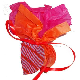 Cadeau de table rouge et orange pour le Réveillon