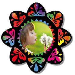 Cadre photo fleur en carte à gratter