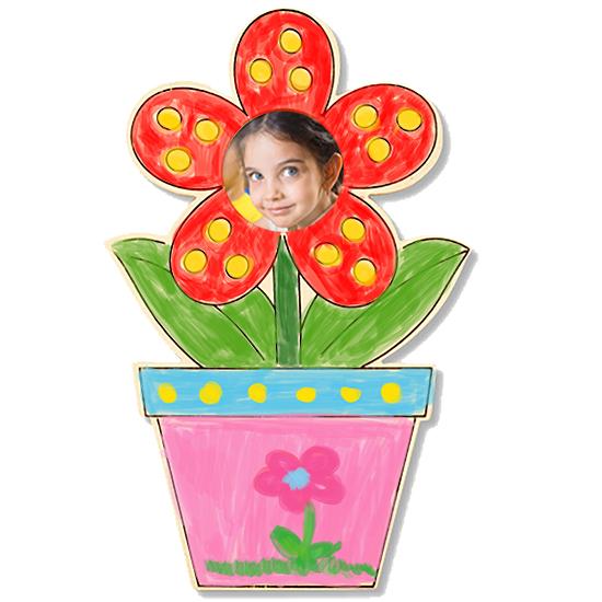Cadre photo « fleur en pot » à colorier