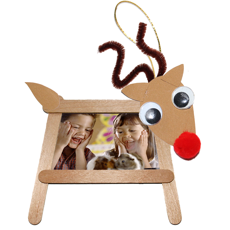 Cadre photo renne de Noël en bâtons de bois