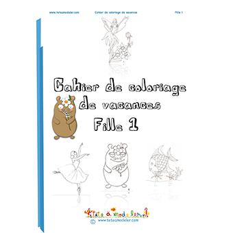 Imprimer en PDF  le cahier de coloriage de vacances fille N°1