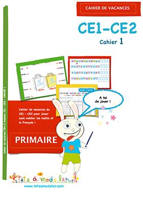 Cahier de vacances N°1 pour CE1 et CE2