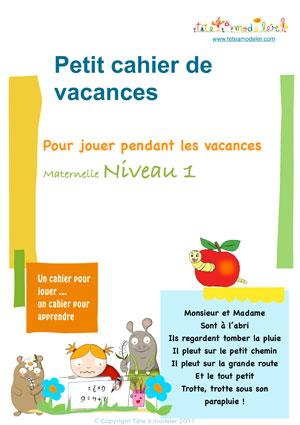 Imprimer le cahier de vacances maternelle niveau 1