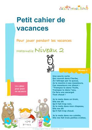 Cahier de vacances maternelle niveau 2