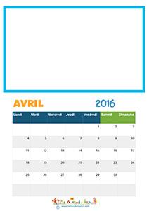 Imprimer les pages du calendrier 2016