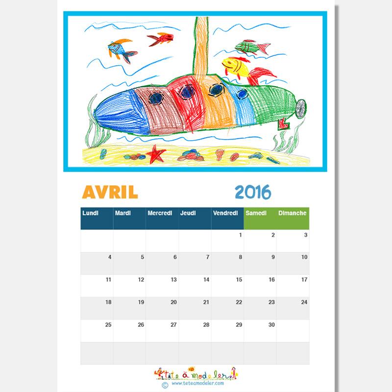 Illustrer chaque page du calendrier 2016