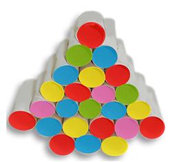 Coller des cercles de couleur sur l'ouverture des rouleaux