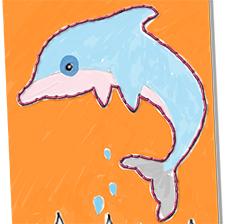 Broderie de la carte dauphin