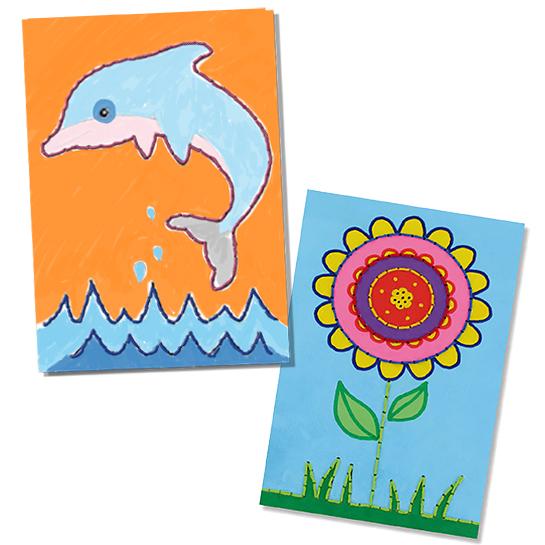 Cartes à broder ou à colorier