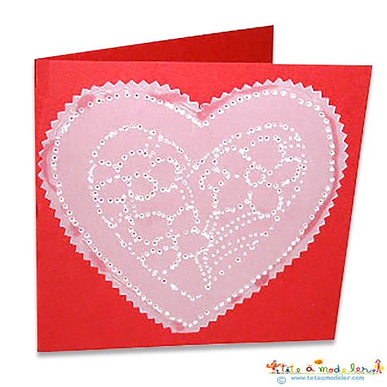 Carte coeur en piquage pour maman f te des m res t te modeler - Cartes fetes des meres a imprimer ...