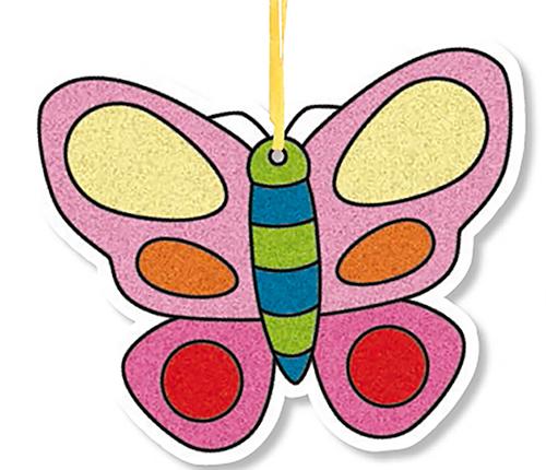 Papillon décoré de sable de couleur